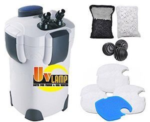 SunSun Canister Pro Filter with 3 white filter pads, 1 blue coarse pad, carbon, ceramic rings, and set of bio balls