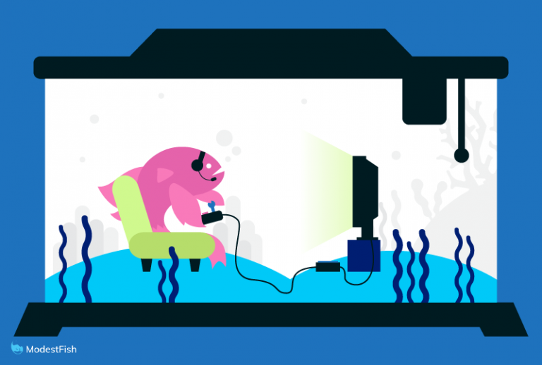 Betta fish playing video games in its fish tank