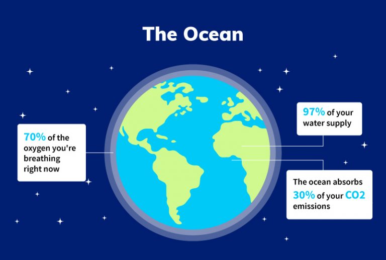 The earth with annotations with facts about the ocean