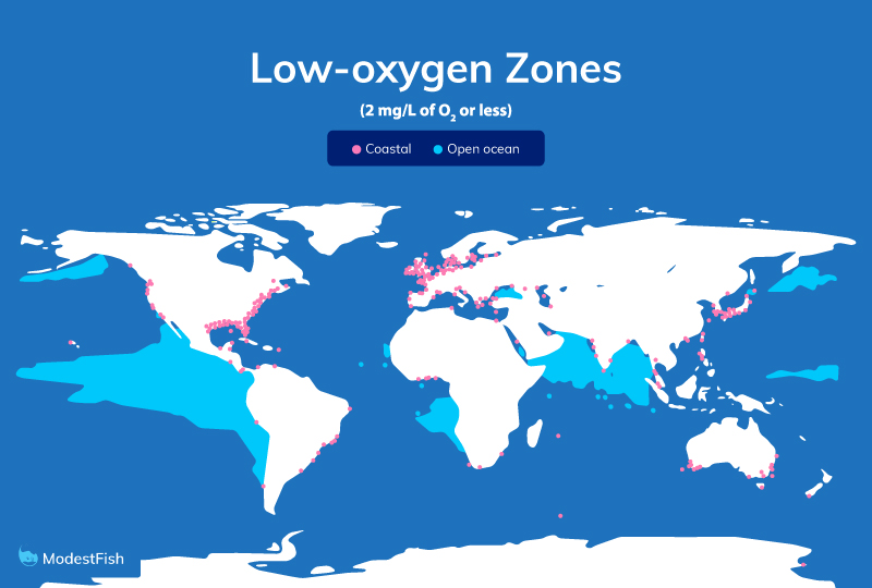 Locations of dead zones around the world