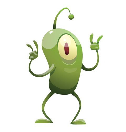 Vector cartoon image of a funny plankton with one big eye, with an antenna, with arms and legs, standing and showing the sign of the horns on a white background. Positive character. Creature.