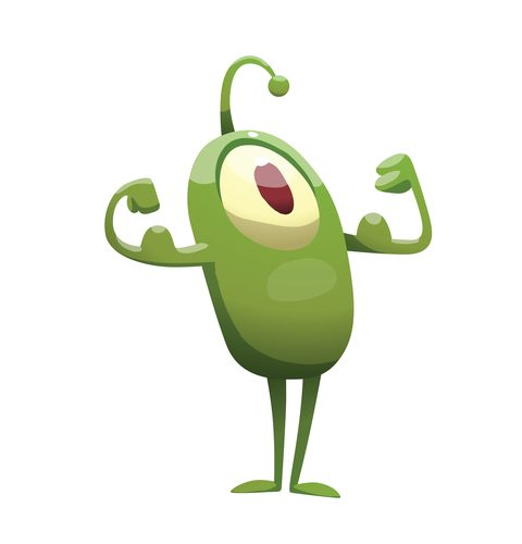Cartoon plankton being strong